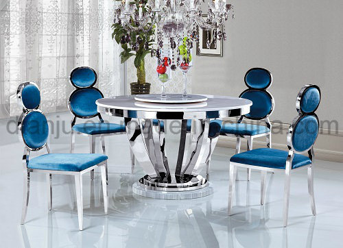 Stainless Steel Feet White Stone Dining Table (A6053)