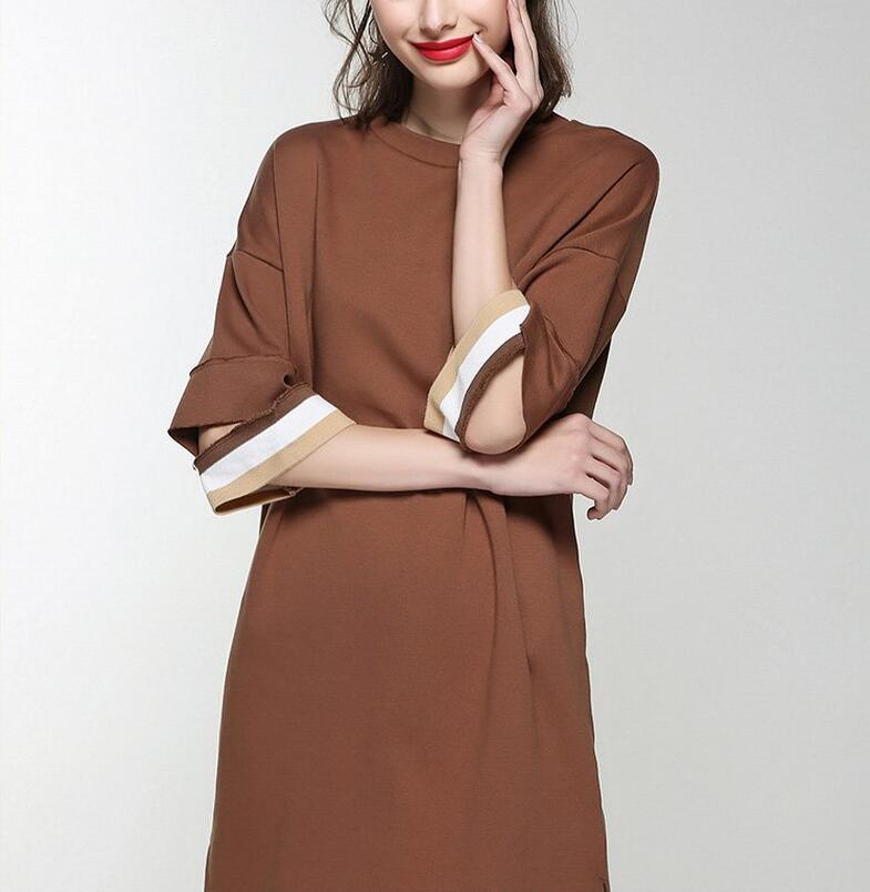 Spring Round Neck Special Sleeve Elegant Women′s Dress