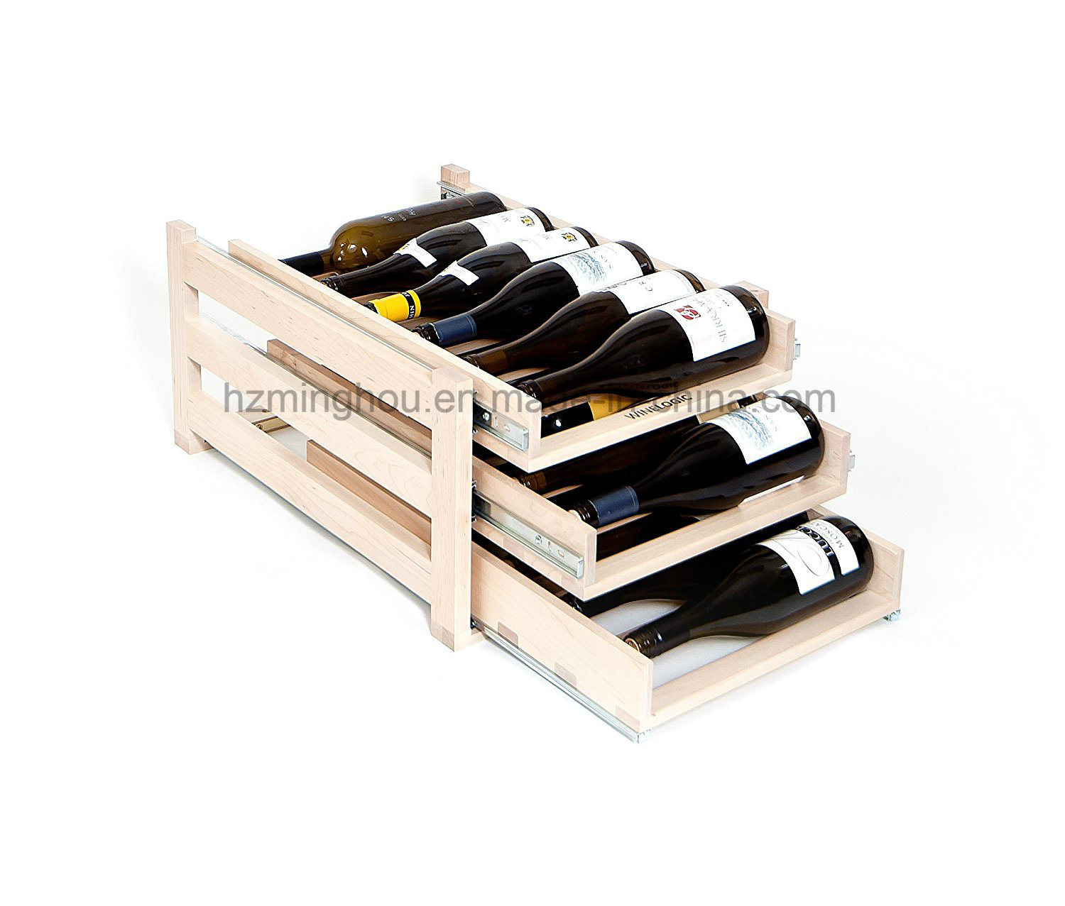 Customize in-Cabinet Sliding Wood Bottle Storage Display Red Wine Rack