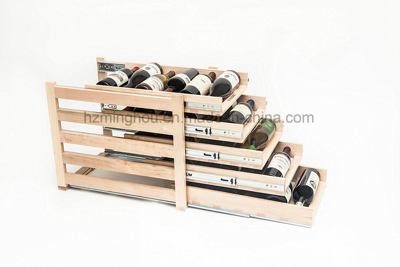 Customize in-Cabinet Sliding Wood Bottle Storage Red Wine Rack