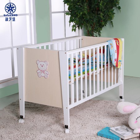 Wood Board Combination Bed Cute Bear Cartoon Baby Crib Children Furniture
