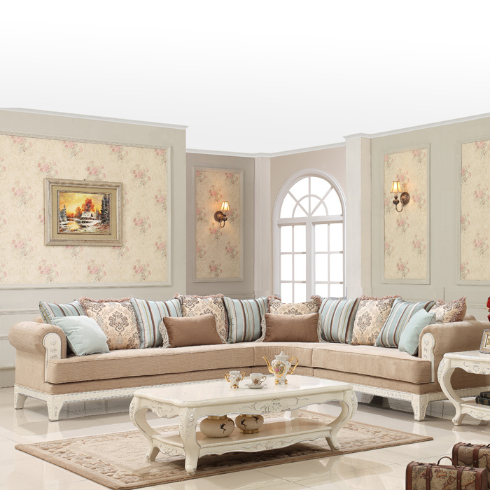 Classical Home Fabric Corner Sofa Set Sectional Couch with Wood for Living Room