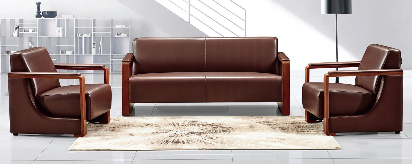 Brown Color Leather Combination 1+1+3 Sets Office Sofa (HX-CF013)