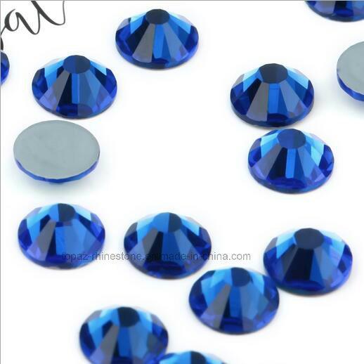 Ss6 Ss8 Ss10 Ss12 Czech Crystal Bead Non Hotfix Glass Stone (FB-sapphire)
