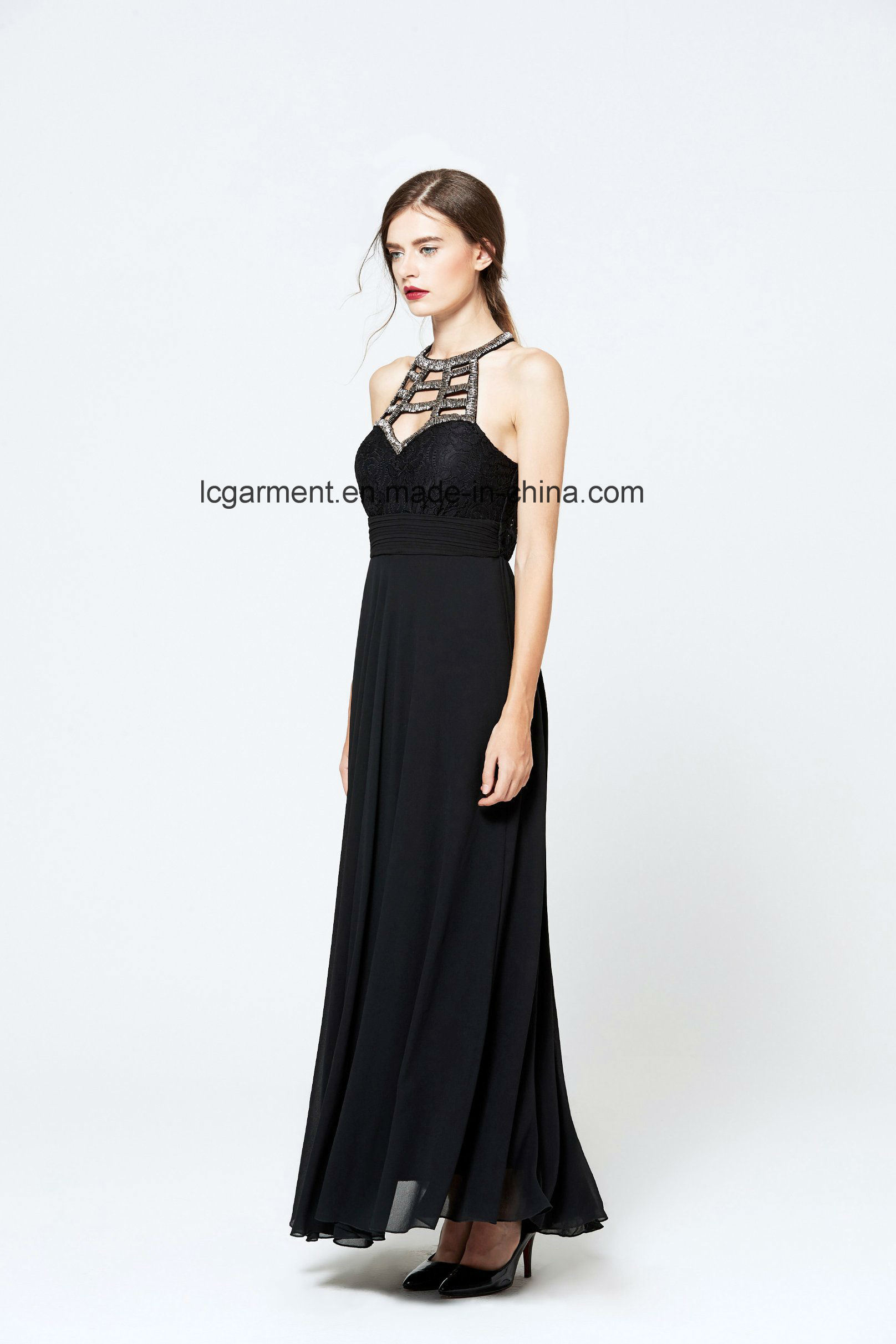 New Arrival Elegant Lace Casual Style Maxi Dress with Metal Jewelry