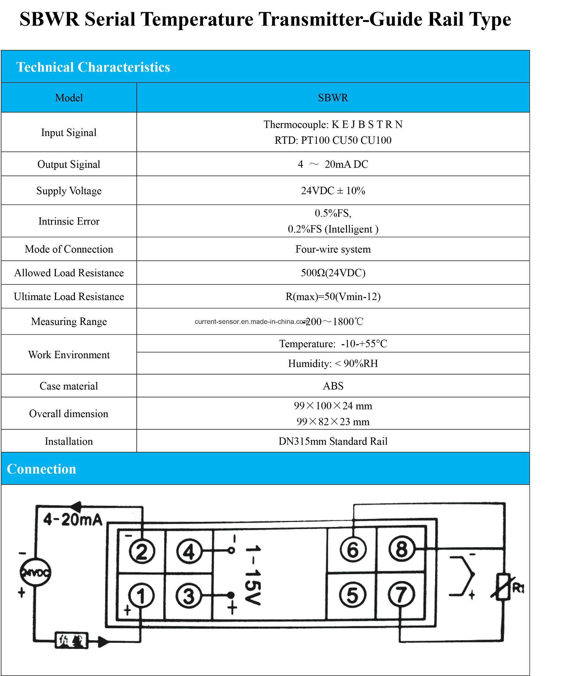 Smart 4-20mA PT100 Temperature Sensor/Integrated Temperature Transmitter