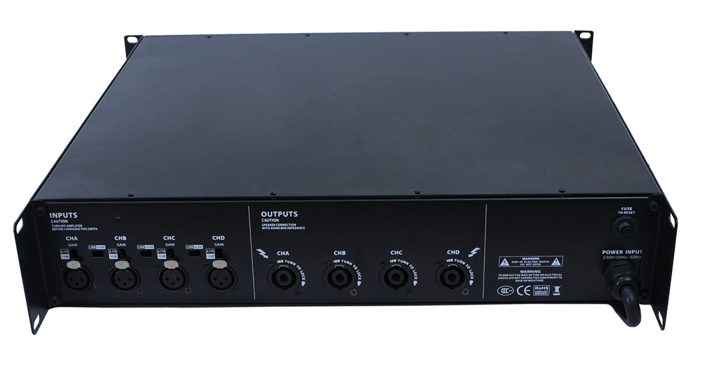 4 Channels, 2u Standard Power Amplifier-Gold Board (Gold and blue color is available)