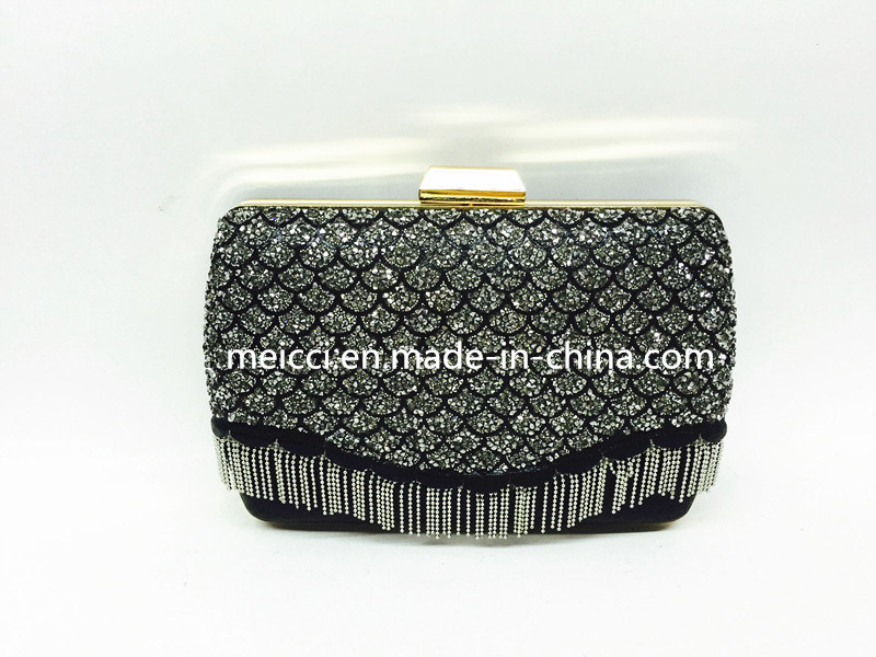 Ladies Eveing Bag, Glass Stone and Metal Tassel Design Mz-0416