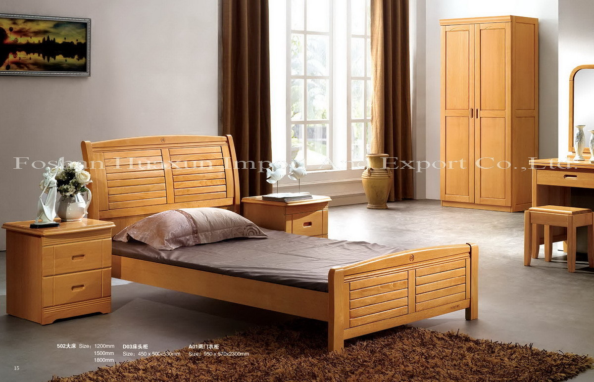 Beech Solid Wood Bedroom Set (001)