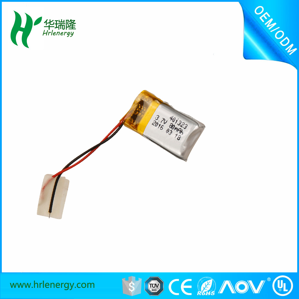 Low Price 401323 80mAh 3.7V Rechargeable Li-ion Polymer Battery