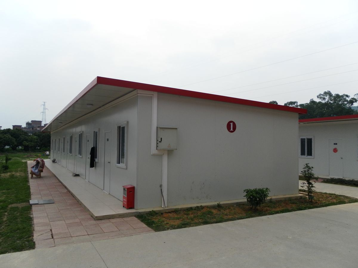 china luxury prefab house flat roof red color photos