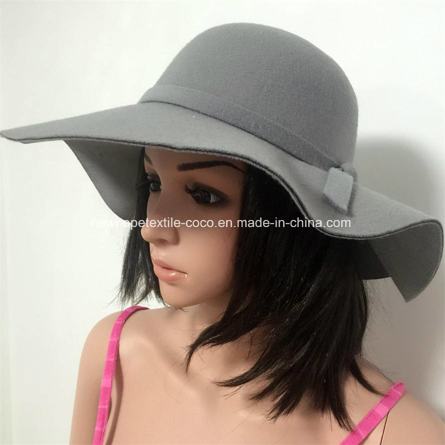 Fashion Colourful Fake Wool Lady′s Hat with String Decoration and Large Brim