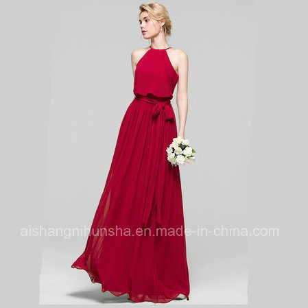 A-Line Scoop Neck Floor-Length Chiffon Evening Gowns Bridesmaid Dress Bd001