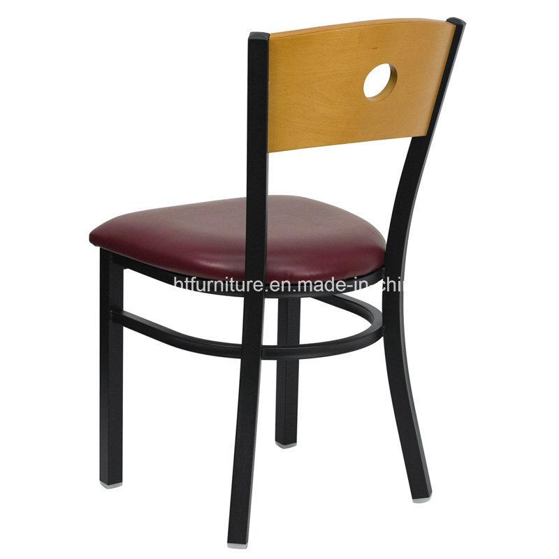 Back Metal Restaurant Chairs Wood Back Plus Vinyl Seat