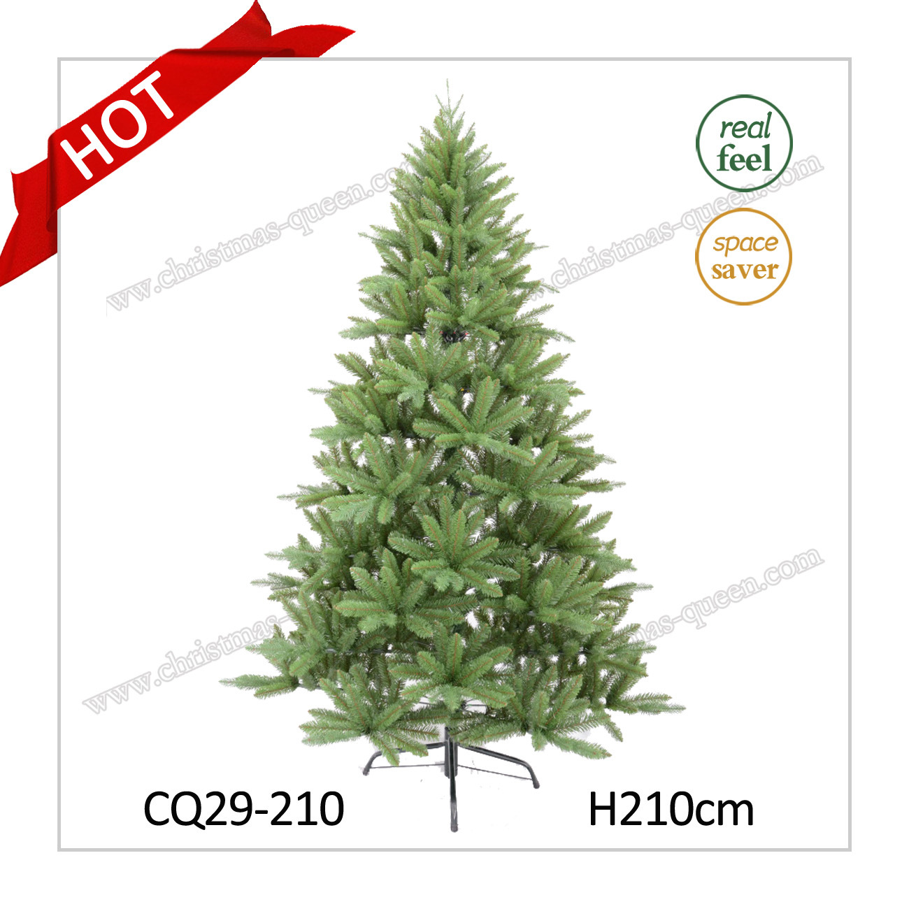 H7FT Artificial Green Plastic Needle Pine Christmas Tree for Home