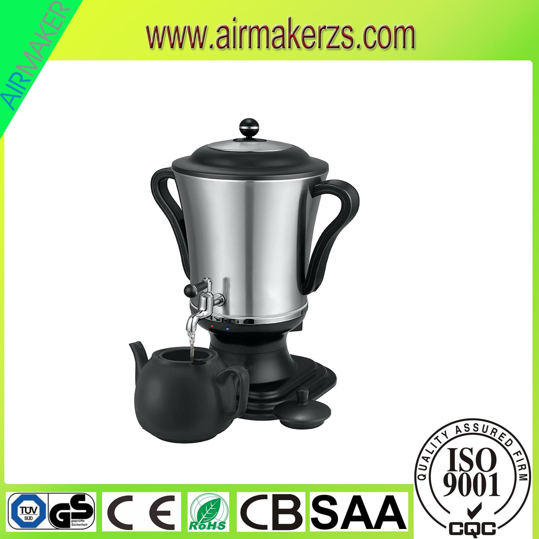 Modern Stainless Steel Russian Samovar with Glass Teapot