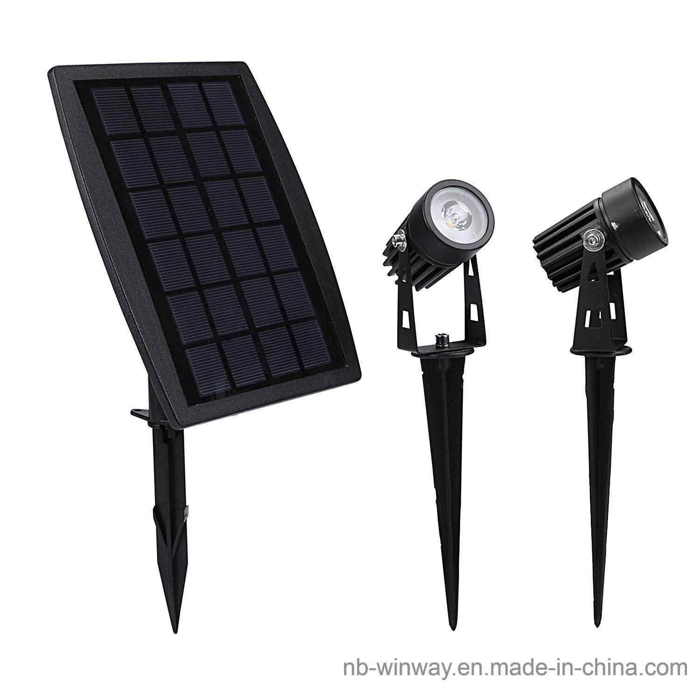 Solar Powered Twin Outdoor Spotlight for Garden