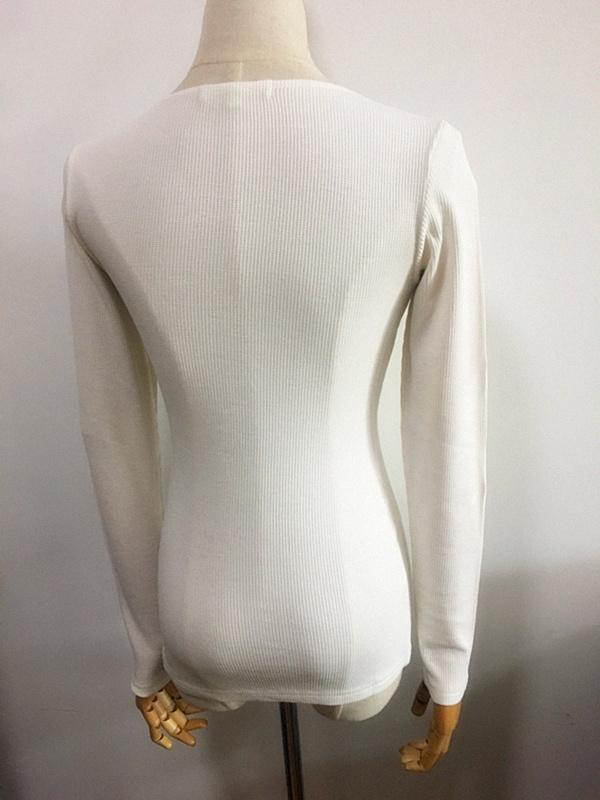 Women Fashion Clothing Slim Fit White V-Neck Polo Shirt