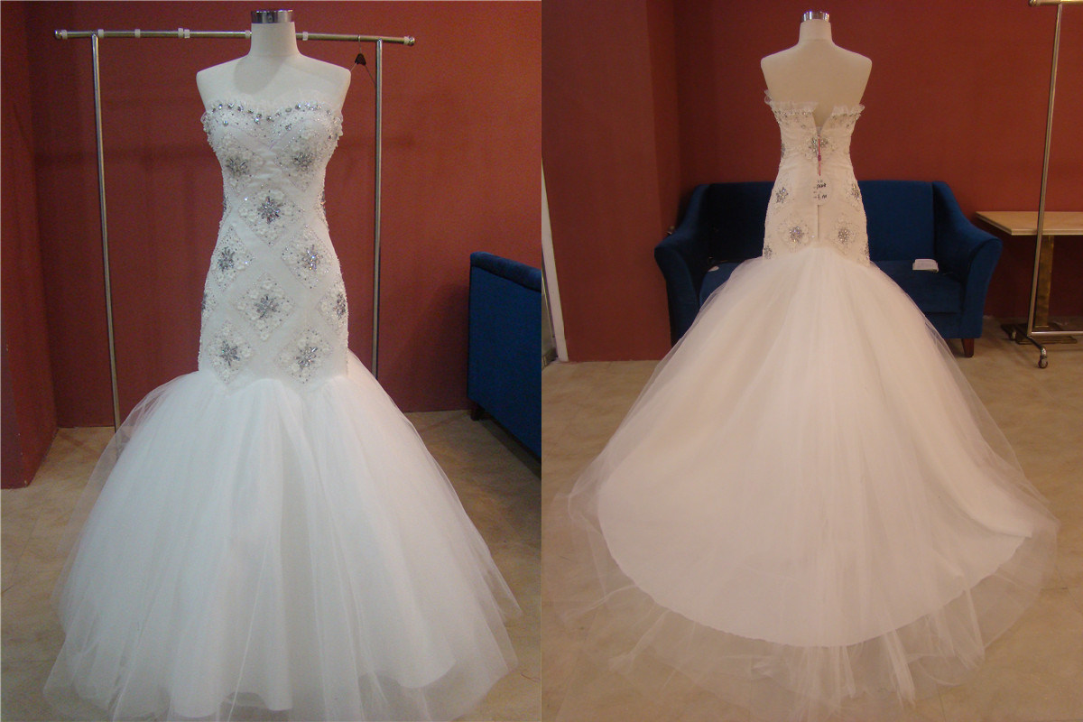 China mermaid long train wedding dress gown t10308 for Mermaid wedding dress with train