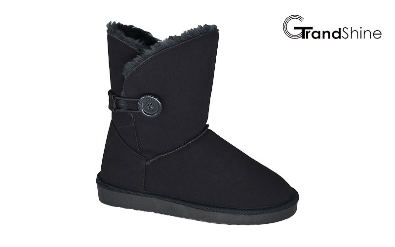 Women′s Microfiber Snow Boots with Button