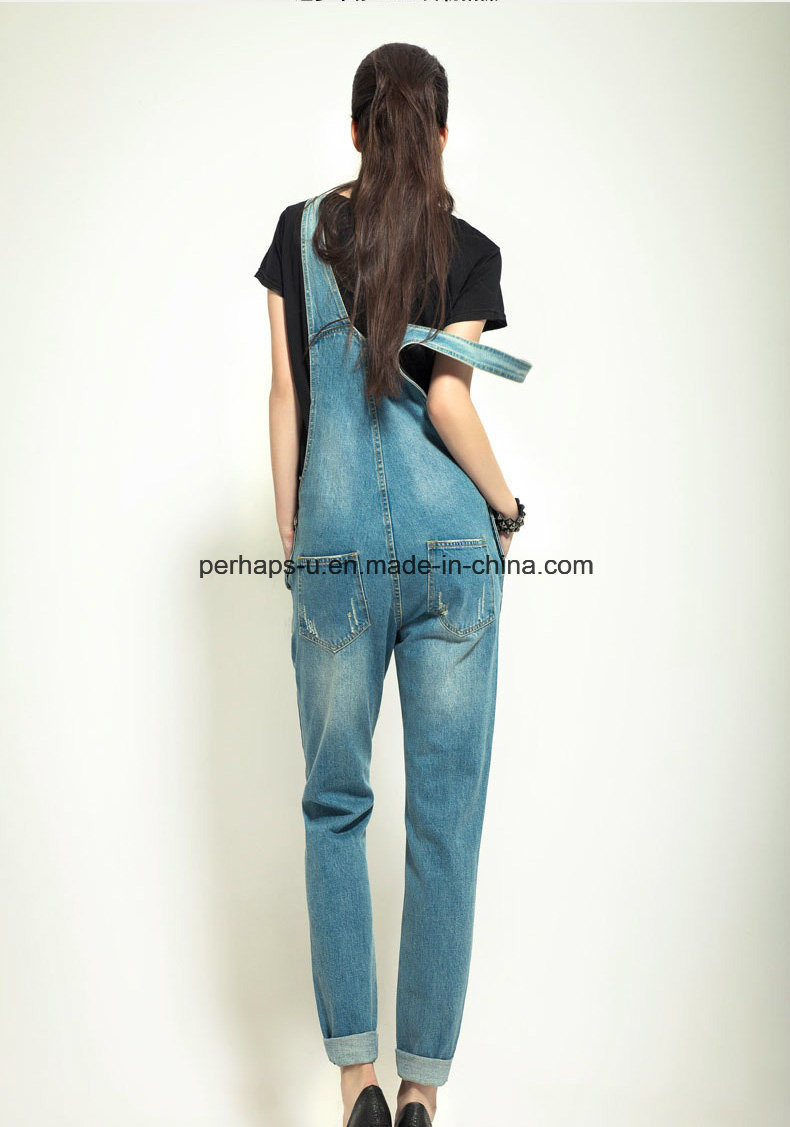 High Quality Classic Denim Ladies Jeans Overall Women Ripped Pants