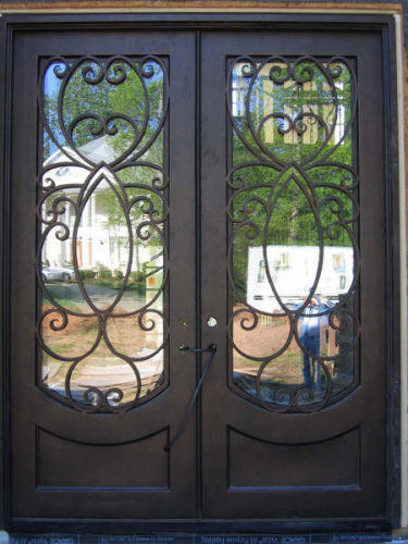 Flat Top Wrought Iron Entry Door with Kick-Plate