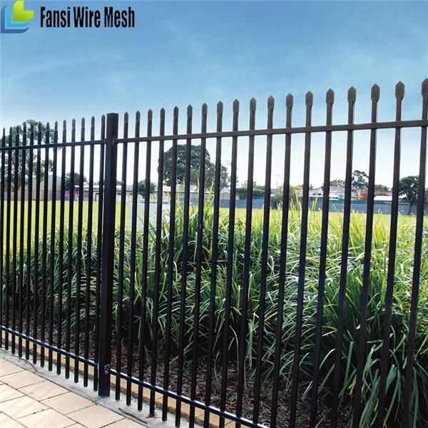 Black Powder Coated Tubular Fence / Steel Fence / Wrought Iron Fence