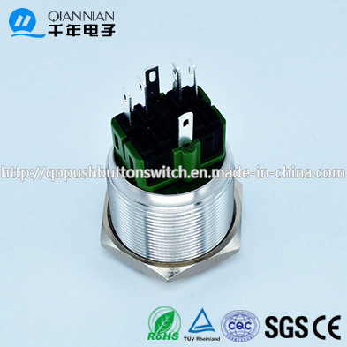 Qn25-A3 25mm Character Illuminated Type Momentary|Latching Flat Head Pin Terminal Metal Push Button Switch