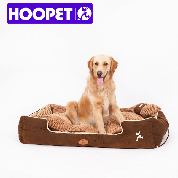 Pet Bed Suede Fabric Pet Products Luxury Large Paradise Bolster Dog Sofa Beds with Pillow