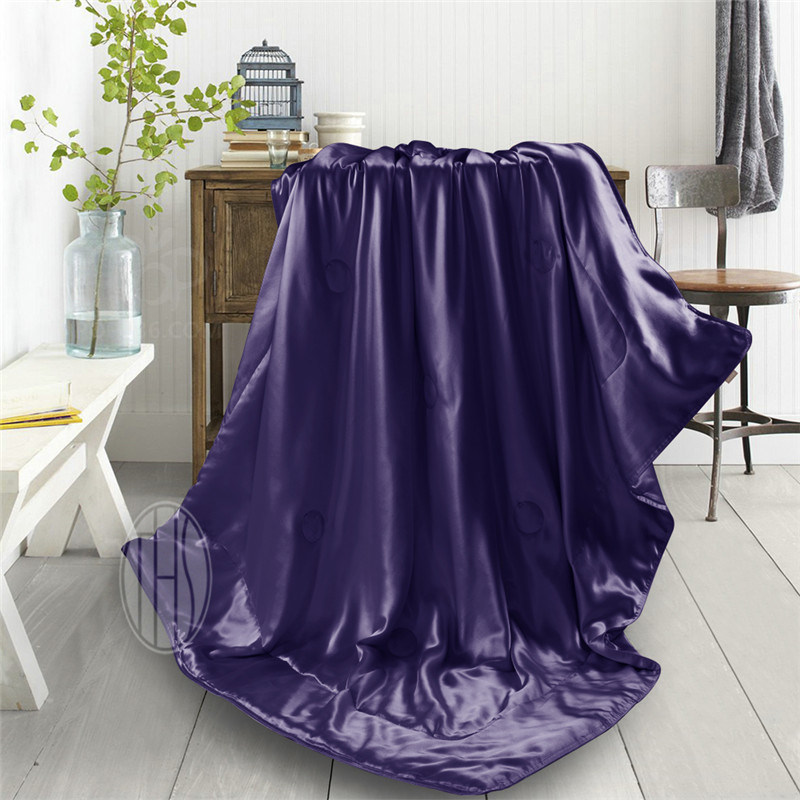 Violet Color Silk Throw Blanket for Summer Season