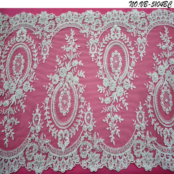 Ivory Beaded &Corded Lace Trim From Lace Factory Vb-5104bc