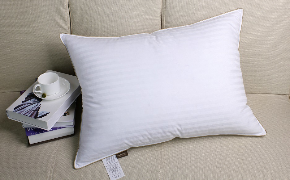 Stripe Cover Gold Piping White Goose Down Pillow for Hotel