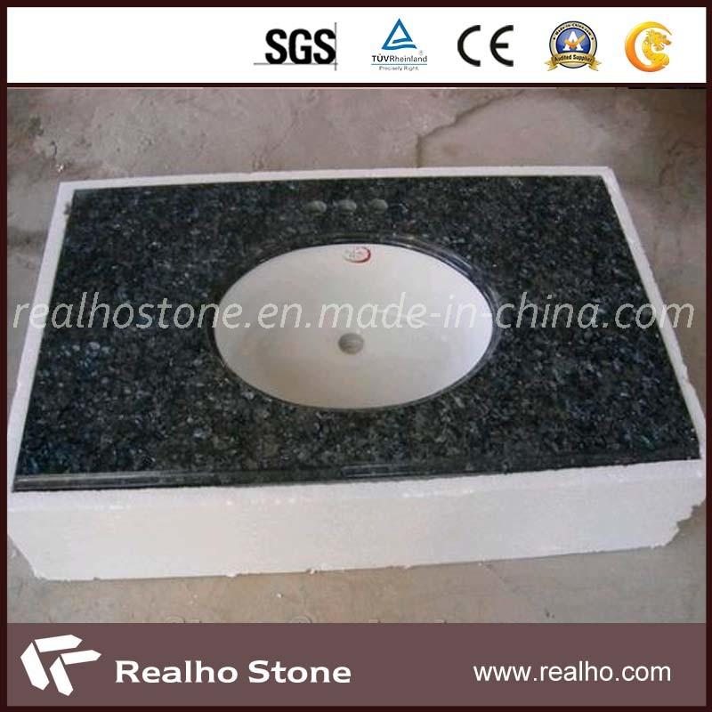 China Blue Pearl Granite Vanity Tops/Bathroom With Double Ceramic Sink -  China Bathroom Tops, Bathroom Countertop