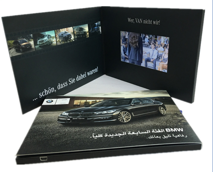 7inch A5 Newest Invitation Video Brochure Card/ LCD Video Greeting Card OEM, Promotion Digital LCD Video Business Card