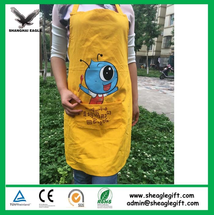 Promotional Christmas Yellow Cotton Canvas Apron Customized for BBQ Cooking