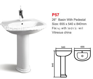 Ceramic Lavatory Basin with Pedestal (No. P57) Sanitaryware