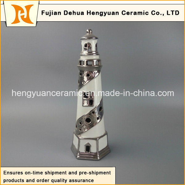 Creative Decoration Ceramic Lighthouse with Tealight