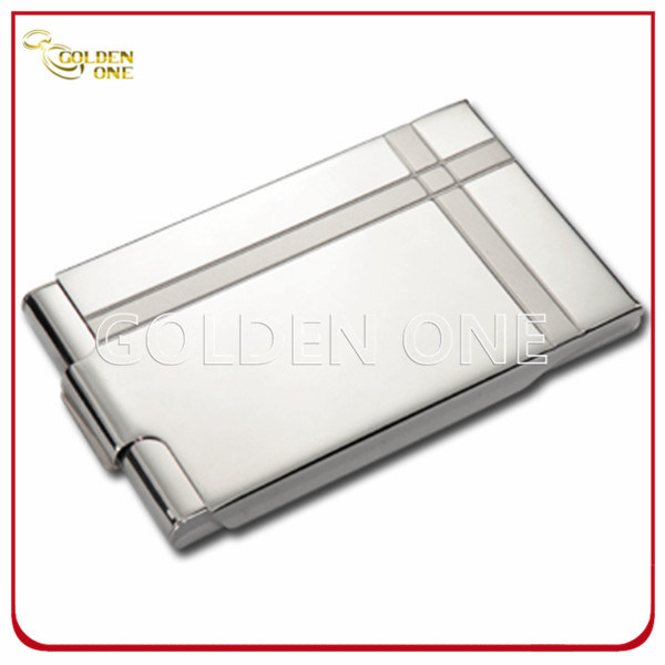Stainless Steel Cover Pink Leather Business Name Card Case