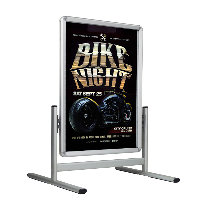 Sidewalk Sign for Posters, Snap Open, Wheels, Silver