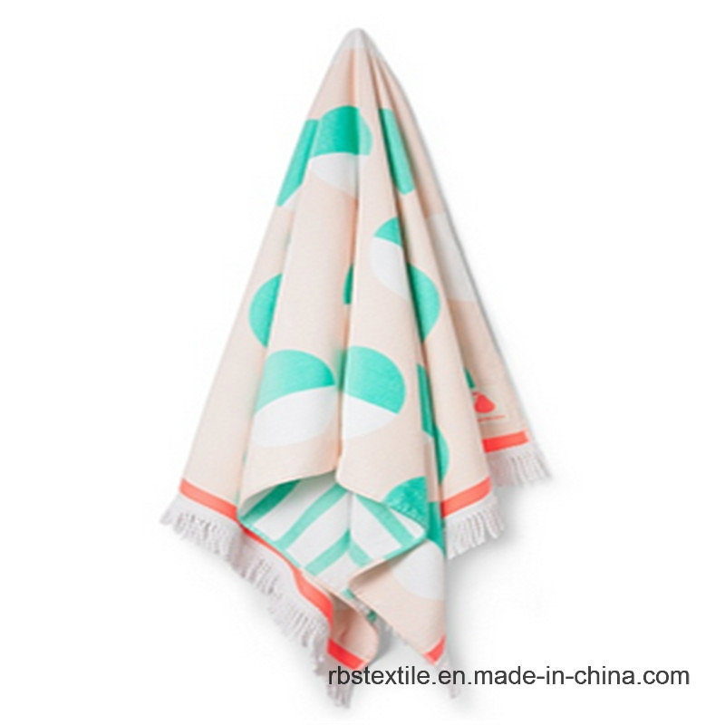 Custom Made Cotton Jacquard Velour Beach Towel