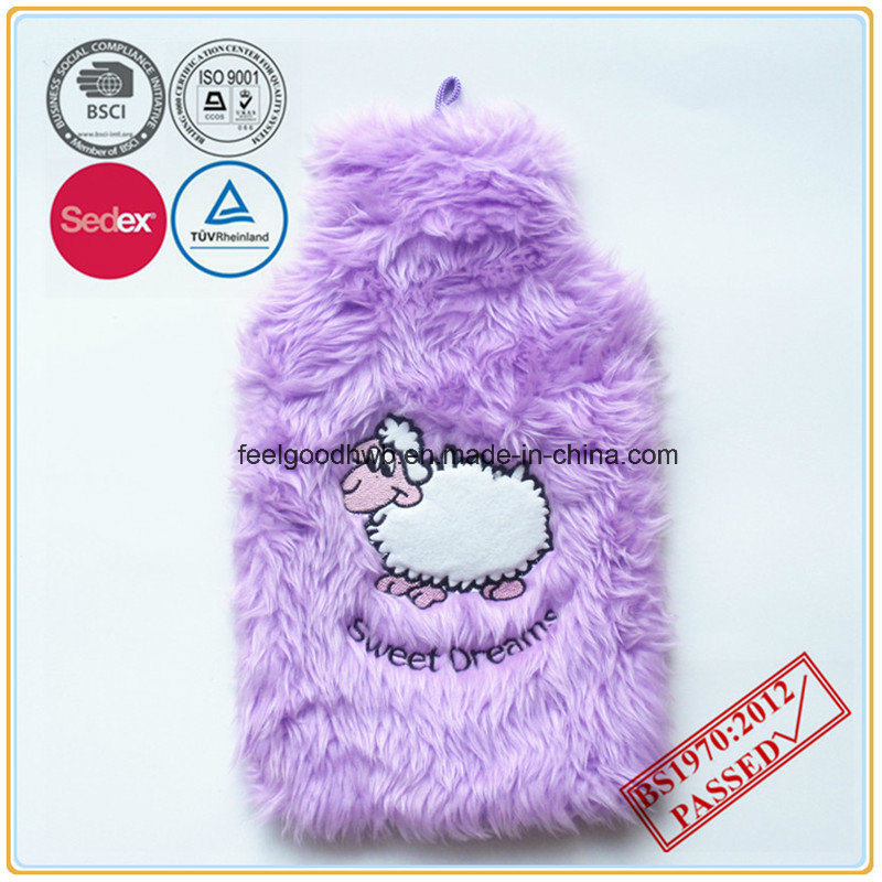 Hot Water Bottle with Embroidery Plush Cover