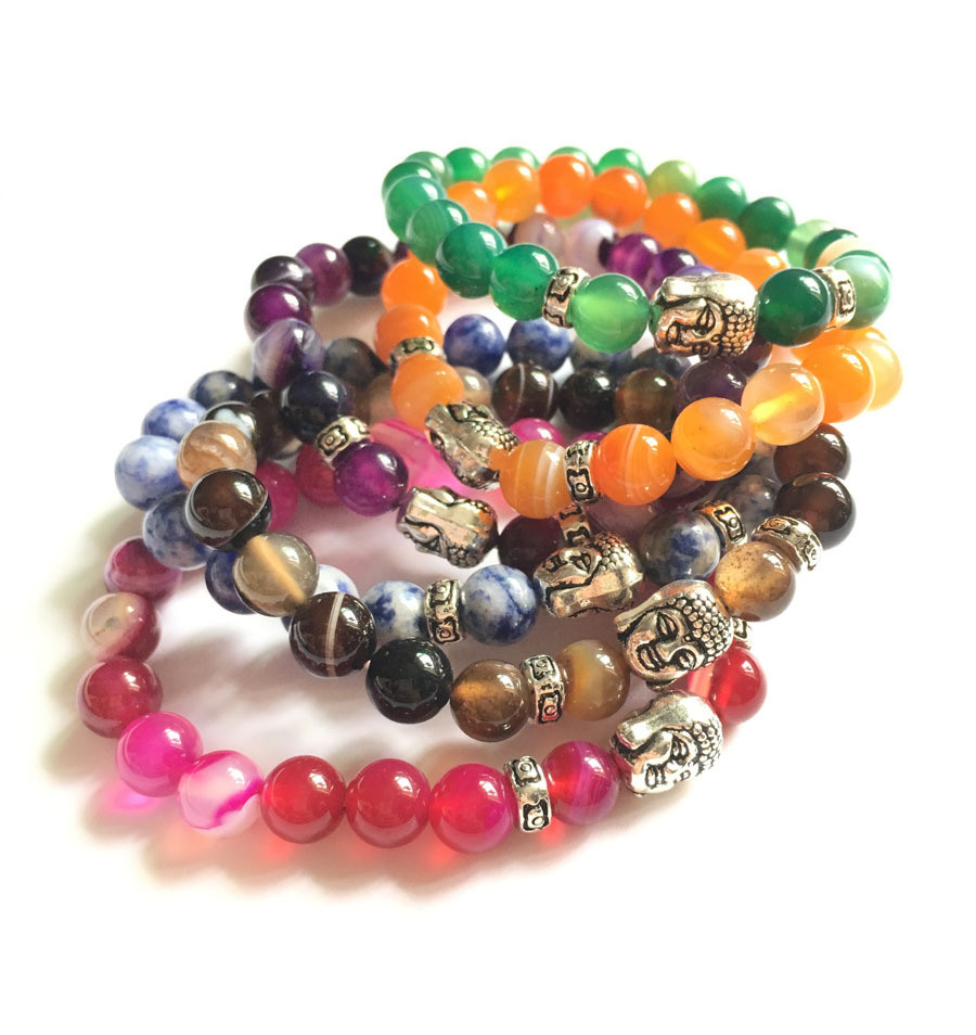 Fashion Crystal Agate Beaded Bracelet Jewelry (ESB012004)