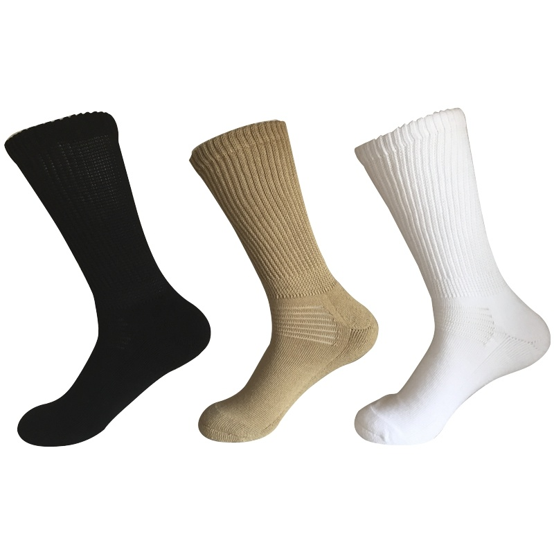 Half Cushion Sorbtek Coolmax Diabetic Health Care Medical Khaki Socks (JMDB02)