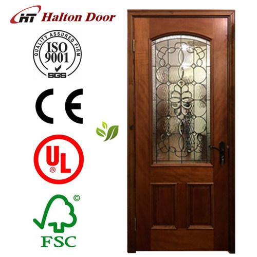 Classic Solid Wood Door/Red Rich Timber Door/Wrought Iron Wood Door/Entrance Wooden Door
