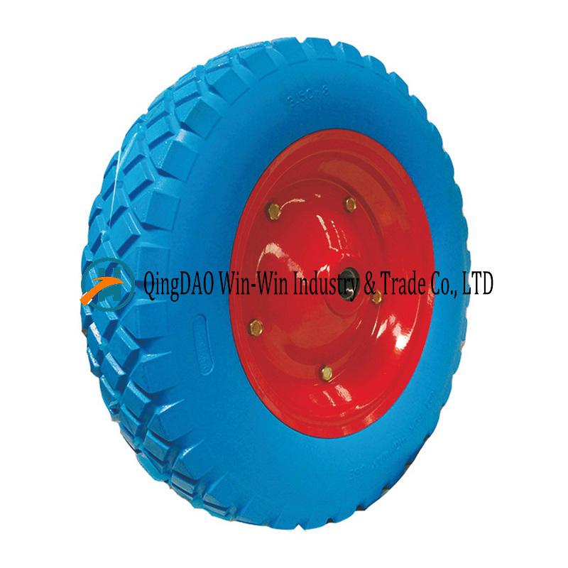 3.50-8 PU Foam Wheelbarrow Wheels Trolley Wheels with Steel Rim Flat Free