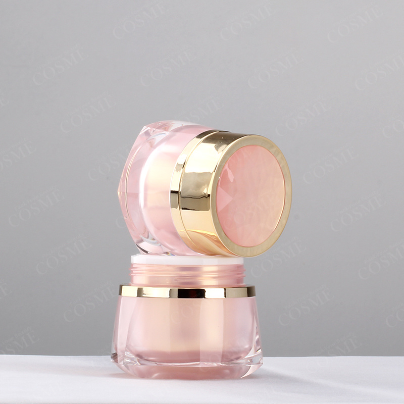New Design Luxury Plastic Acrylic Crystal Cosmetic Packaging Cream Bottles and Jars