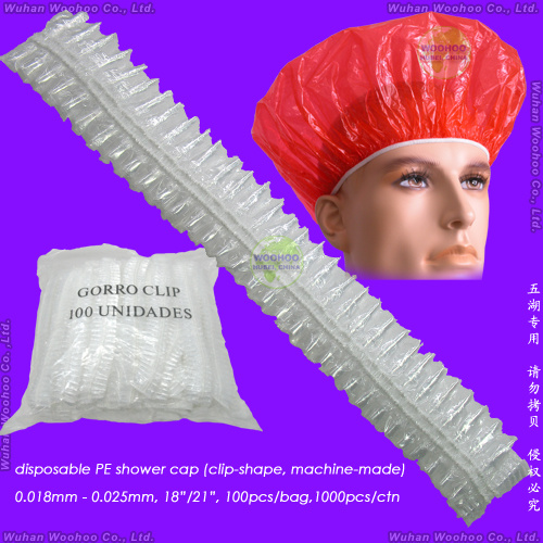 Waterproof Transparent Polyethylene/Poly/HDPE/LDPE/Plastic/Clear/Bathing/Hotel/Strip/Clip/Stripe/Travel Disposable PE Shower Cap, Disposable PE Bath Cap