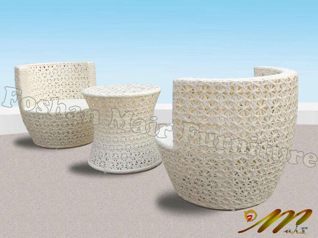 Outdoor Rattan Furniture Stacking Rattan Vase Bistro Set White Mc1 N