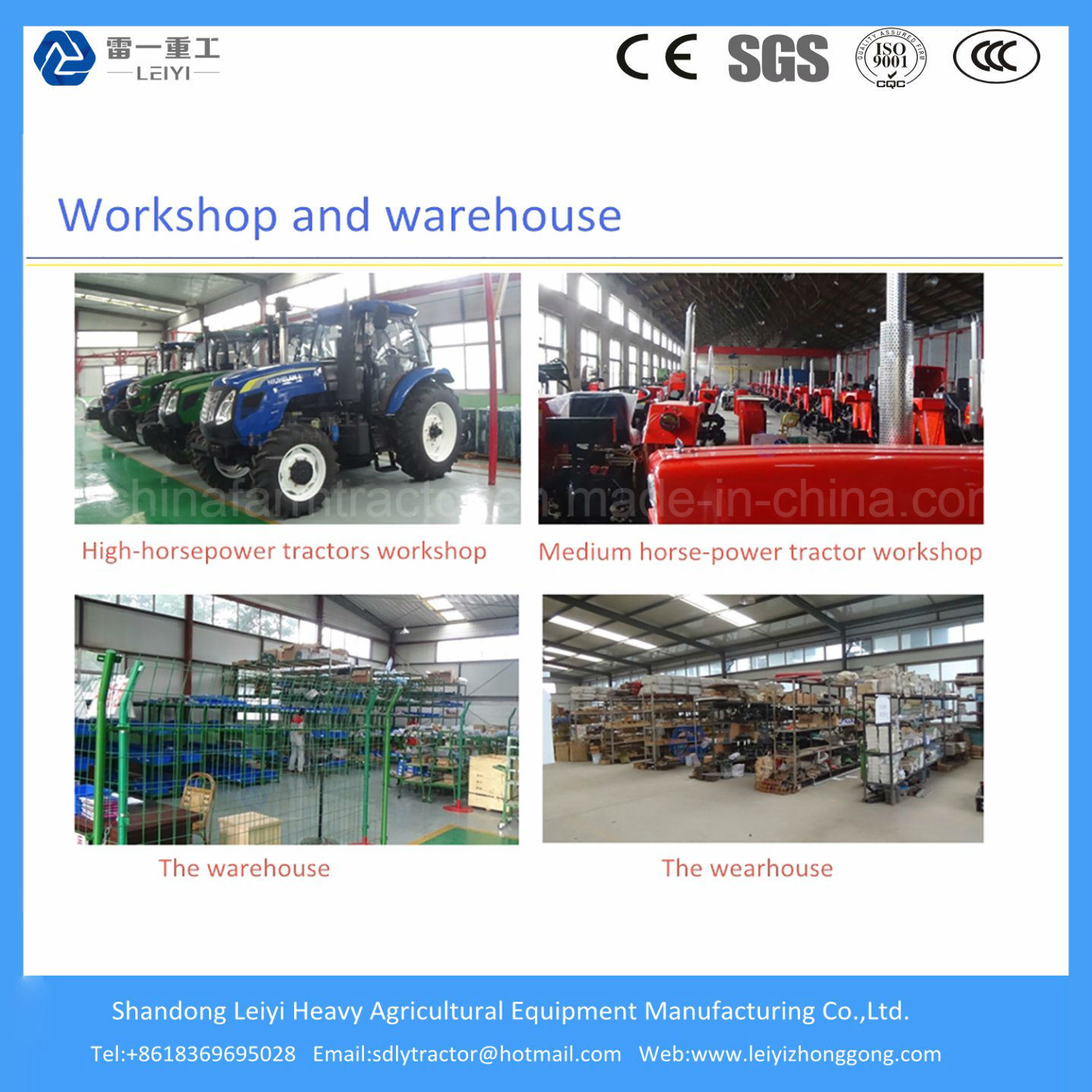 Factory Supply 4WD Farm/Mini/Diesel/Small Garden/Agricultural Tractor (40HP/48HP/55HP/70HP/125HP/135P/140HP/155HP)