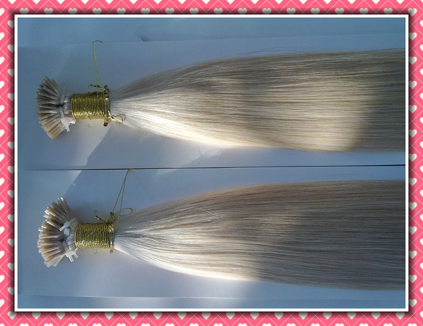 "Premium Quality 100% Human Hair Real Remy Hair Extension Pre-Bonded Hair Extension I-Tip 20""1.0g Per Strand Color 60#"